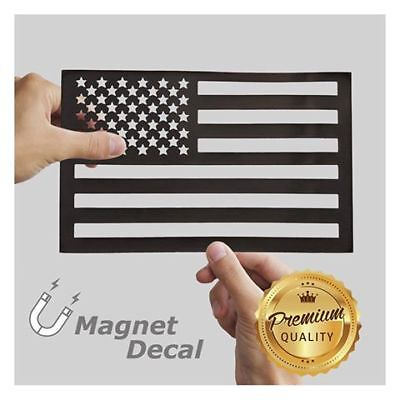 WHITE RHINO™ American Flag Car Magnet Decal Cut-Out Black 5.5 x 9 inches
