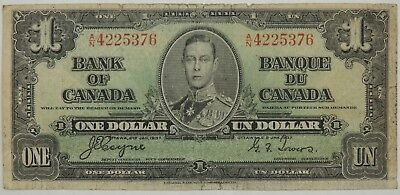 1937 $1 (One) Dollar Bank of Canada SN#4225376 (Circulated) (073118)