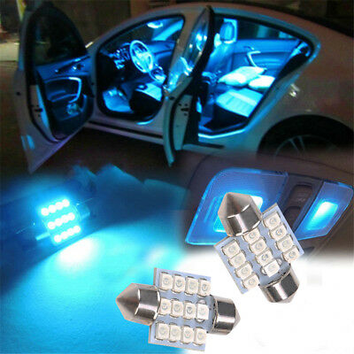 13Pcs Car Blue LED Lights Interior Package Kit For Dome License Plate Lamp Bulbs