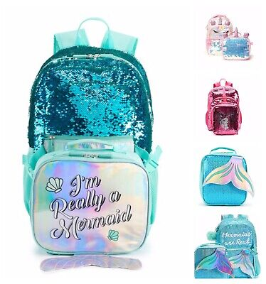 Girls School Backpack or Lunch Box Pick 1 Mermaids Butterfly Owl Unicorn Kids