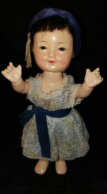 "Vintage Asian/chinese/oriental Jointed Composition 9"" Folk Doll-Very Pretty"