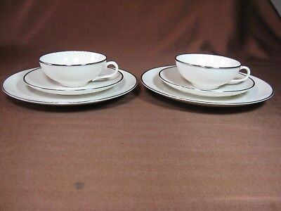 Franciscan China Platinum Band Cup, Saucer & Snack/Salad Plate Discontinued 1981