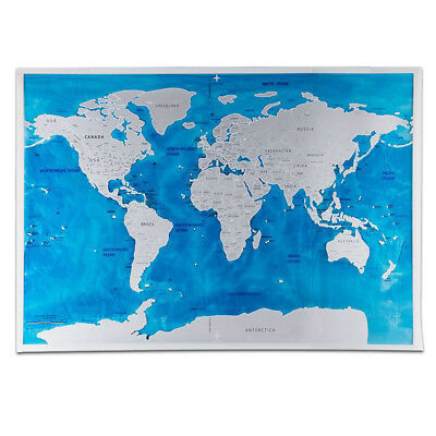 World Scratch Off Map Blue Ocean Personalized Deluxe Travel Edition Brithdaygift