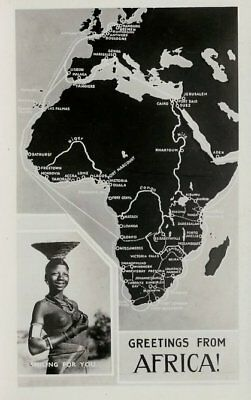 Great Old Real Photo Africa Map Post Card - Greetings From Africa
