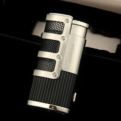 Jobon Torch Windproof Triple Jet Flame Refillable Butane Gas Cigar Lighter Grey