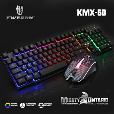 Rainbow Backlight llluminated Gaming Keyboard and Mouse Wired USB PC Laptop Game