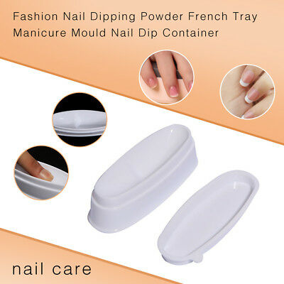UK_ Fashion Nail Dipping Powder French Tray Manicure Mould Nail Dip Container St