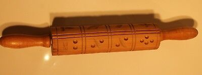 Vintage wooden ROLLING PIN with hand carved nature themed designs.