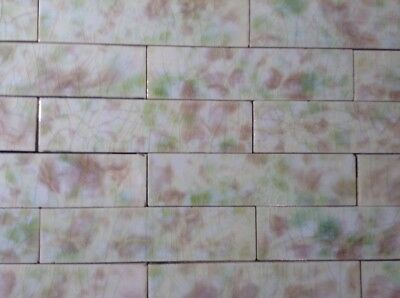 Complete Set Vintage Victorian Antique Fireplace Tile Mantle  Green Blush Cream