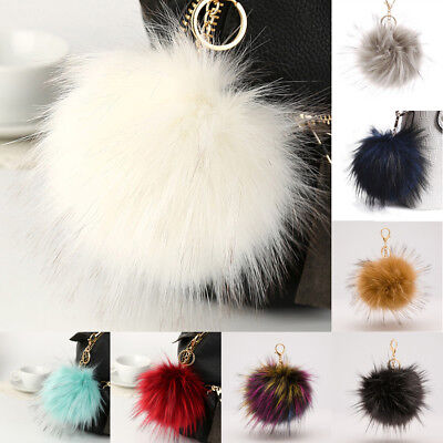 UK_ Fluffy Large 16cm Faux Fox Fur PomPom Ball Car Handbag Keychain Key Ring San