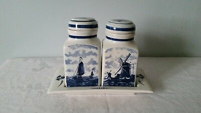 Delft Blauw Hand Painted Made In Holland - 2 Canisters & Tray