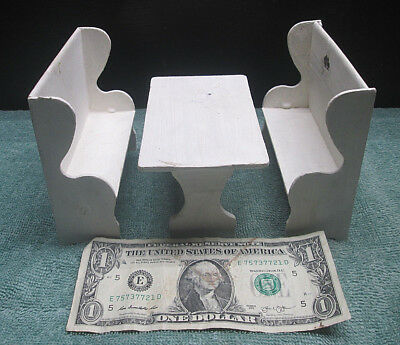 Arcade Co. Antique Toy Dollhouse Kitchen Table Amish High Back Bench Deacon Seat