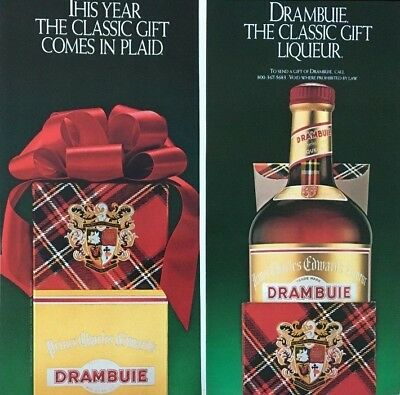 1982 DRAMBUIE The Classic Liqueur Comes in Plaid CHRISTMAS Vintage PRINT AD