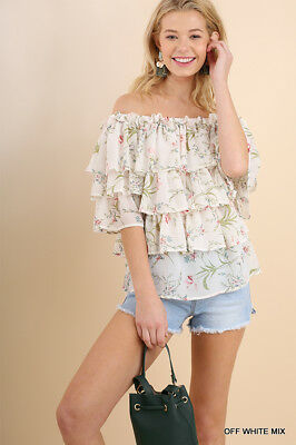 0890d0840adc8 Umgee Layered Ruffle Off Shoulder Floral Print Top - Women s Shirt Blouse