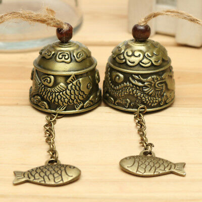 UK_ Chinese Dragon/Fish Feng Shui Bell Good Luck Fortune Hanging Wind Chime Braw