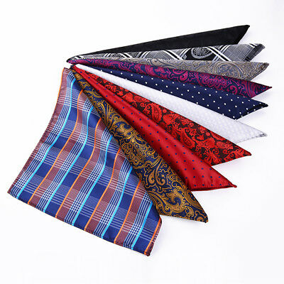 10Pack Men Pocket Square Handkerchief Silk Floral Paisley Floral Hanky For Suits