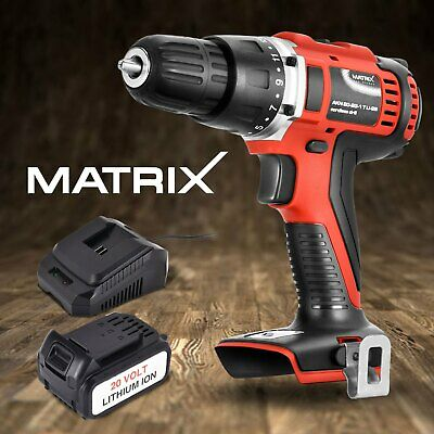 Matrix Cordless Drill Driver 20V Power Tool Brushed with 4.0Ah Battery Charger