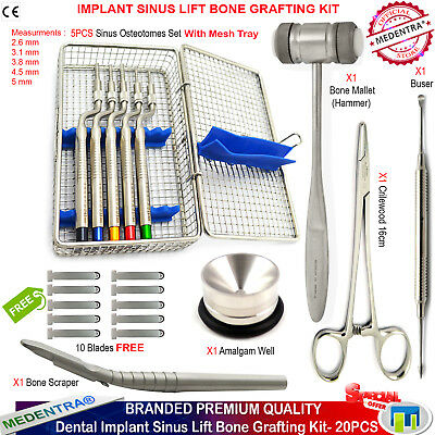 Branded Kit of Implant Sinus Lift Osteotomes Offset Bone Scrapers Mallet Well CE