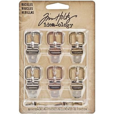 Tim Holtz Idea-Ology ~ BUCKLES with Fasteners ~ 6 in pack MIXED MEDIA