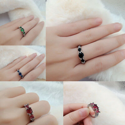 925 Silver Plt Ring Black&Pink Sapphire Ruby Emerald Ring Wedding Party Jewelry