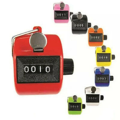 Color Digital Hand Held Tally Clicker Counter 4 Digit Number Clicker Golf Chrom*
