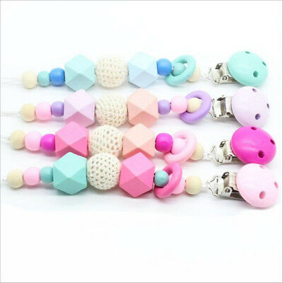 Wooden Soother Holder Cute For Baby Chew Pacifier Clip Teething Dummy