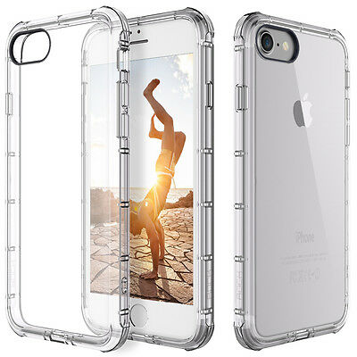 For Apple iPhone 7 8 6 X Case Clear Hybrid Slim Shockproof Soft TPU Bumper Cover
