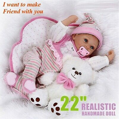 "22"" Reborn Real Life Like Baby Girl Realistic Newborn Dolls Soft Vinyl WhiteBear"