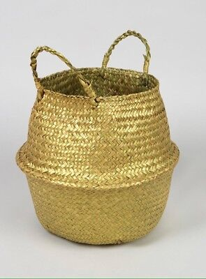 Moroccan Style Gold Seagrass Woven Storage Basket -Laundry or for plant