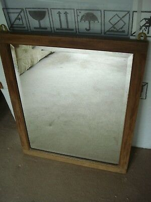 MAHOGANY WALL MIRROR ANTIQUE VINTAGE 19th century moulded frame bevelled glass
