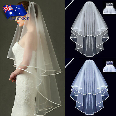 2 Layer White Wedding Prom Bridal Veil Satin Edge With Comb Elbow Length Party