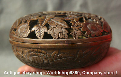 "6"" Marked Antique Chinese Bronze Flower Hollow Out Incense Burner Censer"