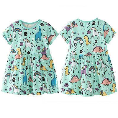 Kids Unicorn Dinosaur Girls Cartoon Animal Printed Dress Long Tops Sundress 3-7Y