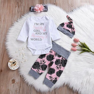 4PCS Newborn Baby Girls Romper Tops Jumpsuit Pants Headband Outfits Clothes Set