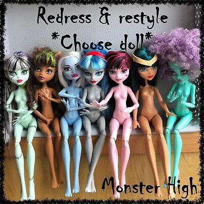 MONSTER HIGH Nude Doll, Redress / Restyle, OOAK ~SELECT DOLL~ 1 incl. (lot 3)