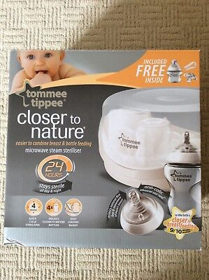 Tommee Tippee Closer to Nature Microwave Steam Steriliser Holds, New