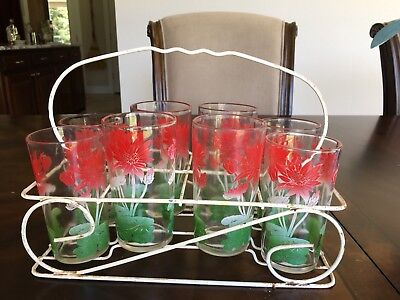 Set of 8 Vintage 1950s Swanky Swigs Glasses Juice 8 Oz with Wire Holder Caddy