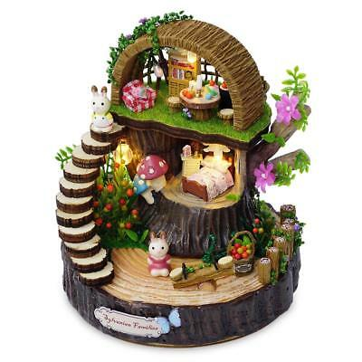 Wooden Miniature Doll House Model Building Kits Toys Diy Dollhouse Fantasy Fores