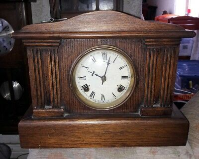 SPLENDID OLD WOODEN WATERBURY CLOCK Co MANTEL CLOCK WITH BELL & A GONG