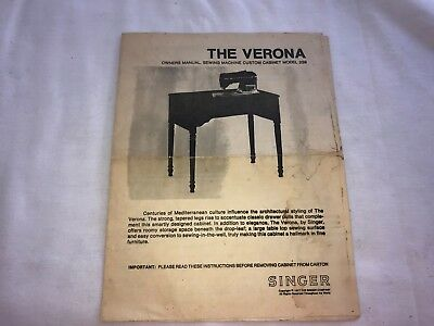 Singer Sewing Machine The Verona Cabinet Instruction Booklet