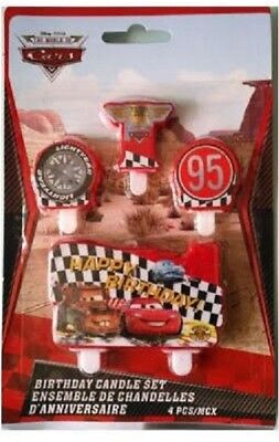 4 Piece Cars Lightning McQueen Cake Candle Set Birthday Party Supplier Decor