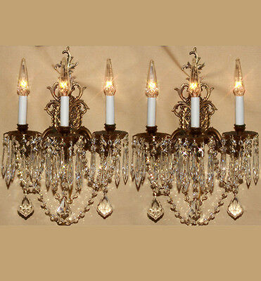 2 Vintage brass Bronze Crystal lamp Sconces ROCOCO French Insp. Dining lighting