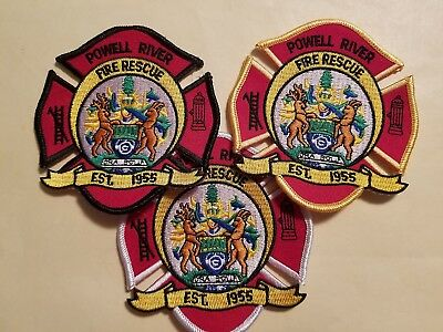 Powell River (BC,Canada) Fire-Rescue Department Patches - Set of 3   ***NEW***