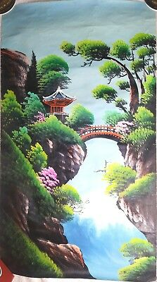 Original Vintage Japanese Chinese Oriental Oil on Canvas Art Painting Landscape