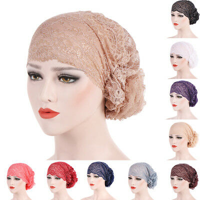 Fashion Women Lace Flower Muslim Hijab Turban Head Wrap Hat Headscarf Cap Noted