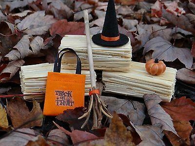"Dollhouse Miniature Halloween Set Witch's Hat Broom Trick or Treat Bag 1"" 1:12"
