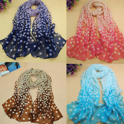UK_ Fashion Women Ladies Scarf Polka Dot Long Soft Chiffon Neck Shawl Stole Sanw