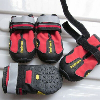 UK_ 4Pcs Waterproof Pet Dog Shoes Anti-Slip Comfortable Reflective Boots Efficie