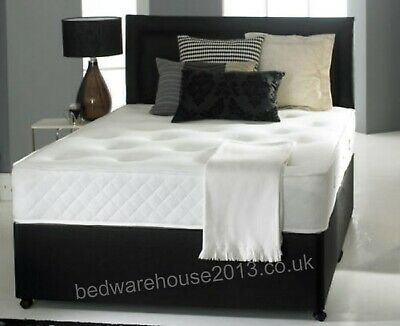 MEMORY FOAM DIVAN BED SET with Solo MATTRESS and HEADBOARD 3ft 4ft 4ft6 5ft 6ft