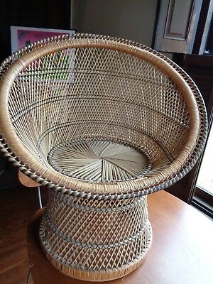 "Vintage Rattan Wicker Fan Chair Round Small Child 26"" Tall Fan 24"""
